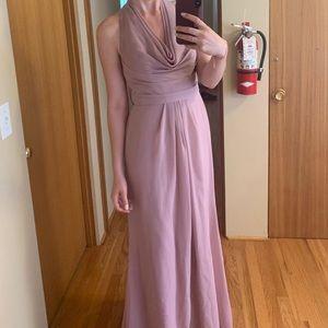 David's Bridal Bridesmaid dress long quartz size 2